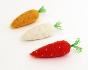 Carrot brooch, Needle felted miniature vegetable pin set - orange, white, yellow heirloom carrots. small gift. stocking stuffers