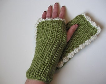 Leaf Crocheted Hand Warmers with Ivory Ruffle