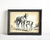 Framed Horse Art, Small Horse Print, Equestrian Art