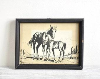 Framed Horse Art, Small Horse Print, Equestrian Art