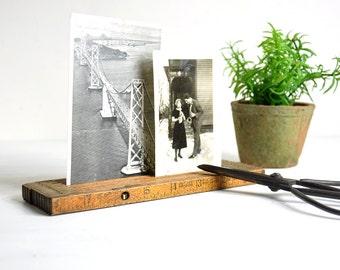 Vintage Folding Ruler Picture Holder / Photo Holder Wood Tape Measure / Industrial Decor Photo Display