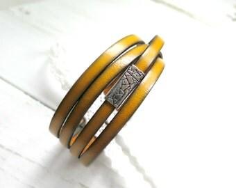 Boho Wrap Bracelet - Yellow - Boho Bracelet - Womens Leather Wrap Bracelet