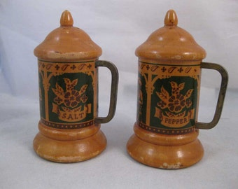 Vintage Wooden Stein Salt & Pepper Shakers Banff Canada