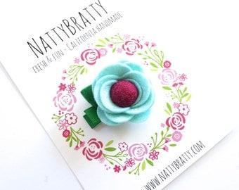 Felt Flower Hair Clip - Baby Girl - Flower Clip - Modern Blossom Clippie - Felt Rosette - Felt Rose - Camelia - Modern Style - Baby Gift