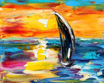 Sunset Sailing painting original oil 6x6 palette knife impressionism on canvas fine art by Karen Tarlton