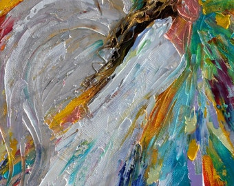 Angel painting original oil - Angel Rising abstract impressionism fine art impasto on canvas by Karen Tarlton