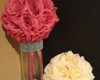 Hot Pink/ Fuchsia Silk Rose Pomander