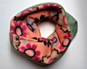 SALE One Size Cozy Fleece Neckwarmer -  Orange Floral and Green - Reversible!
