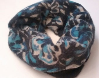 Cozy, thick cashmere cowl, floral, blue cowl scarf, etsy scarf, recycled cashmere, lambswool, cashmere, womens cashmere scarf, reversible