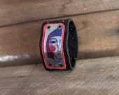 Modern Colorful Face on Salvaged Leather & Aluminum Cuff