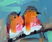 Two Robins no. 87 Bird Art Print by Angela Moulton
