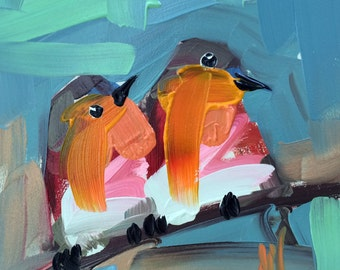 Two Robins no. 87 Bird Art Print by Angela Moulton