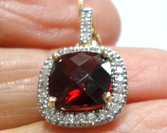 "Garnet and Diamond Pendant Garnet Necklace Garnet Pendant w 35 diamonds in solid 14k Gold on 18"" Solid 14k Gold Box Chain"