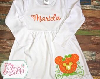 Mouse Pumpkin Carriage Dress, Pumpkin Carriage Dress, Pumpkin Carriage Design, Mouse Carriage Design, Girls Fall Dress