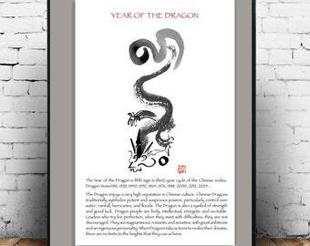 Dragon poster, Chinese Zodiac Year of the Dragon, print of original zen art, Japan scroll, zen decor, taoist, childrens room art