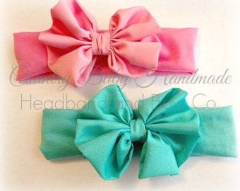 Bow headband...baby bow headband...knit stretch bow headband