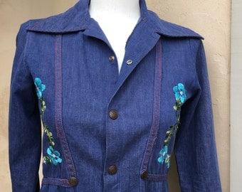 Vintage Boho Embroidered Denim Jacket Copper Snap Up Shirt