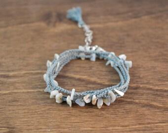 Wrap Bracelet / Necklace - Long Opal and Silk Micro Macrame Convertible Wrap Bracelet or Necklace