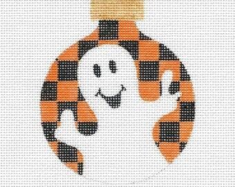 Ghost with Orange and Black Checks Needlepoint Ornament - Jody Designs #B231