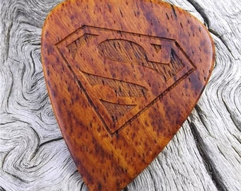 Wood Guitar Pick - Premium Quality - Handmade With Burmese Rosewood - Laser Engraved Both Sides - Actual Pick Shown - Artisan Guitar Pick