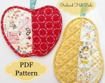 Orchard Hot Pads ~ Apple & Pear  ~   PDF Pattern