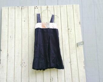 funky tattered cotton black tunic upcycled romantic Upcycled clothing Dress Eco Dress / Artsy Dress by CreoleSha