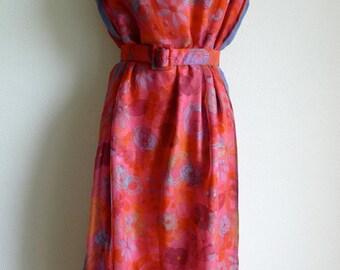Pierre BALMAIN Haute Couture flower print silk and chiffon dress