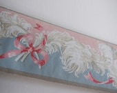 Vintage TRIMZ WALLPAPER BORDER Baby Rose Pink Ribbon Bow Powder Blue French Plume Ostrich Feather Pattern Victorian Shabby Chic Room Design