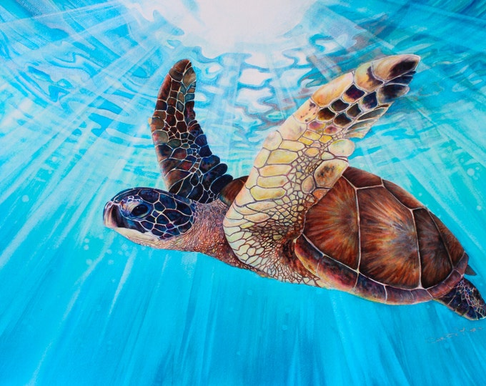 Original Watercolor Painting Hawaiian Sea Turtle Art, turquoise shimmer water Aloha Ocean Nature Wall Art, Fine Art by Artist Christie Marie