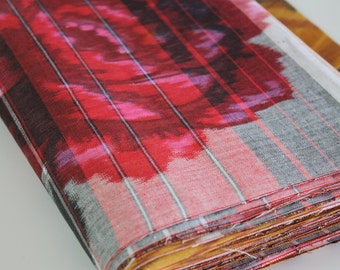 Vintage Japanese Kimono Fabric cotton yukata kimono fabric woven cotton retro ikat design red Rose gold mustard yellow brown medallion 1 yd