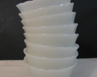 Custard Cups - Set of 8 Anchor Hocking Fire King Milk Glass -#424 -  - Prep Dishes - Ramekin -Baking - Cooking - 6oz