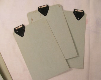 "Vintage File Index Cards w/ Metal Tabs - Heavy Paper Board - Set of 3 -- 5.5"" by 9"""