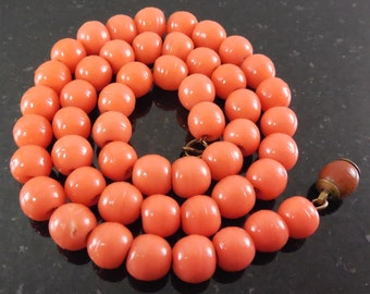 Antique Molded Glass Coral Bead Necklace On Chain