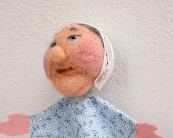 Grandma, handmade handfelted finger puppet