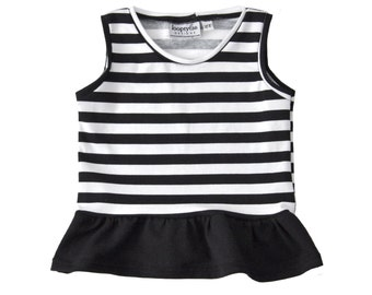 Peplum Top | Black Stripes and Black | Sizes 3 Months to 7/8 | girl top, black, stripes, baby girl, ruffle shirt