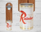 Brother Gift Rainier Wall Mounted Bottle Opener with Vintage Beer Can Cap Catcher - Barware Gift for Guy Pacific Northwest Seattle