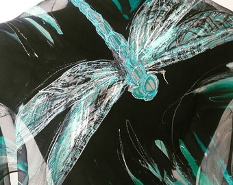 The Sky of Dragonflies. Unique black art silk scarf with blue dragonfly motifs. Transparent chiffon shawl. Elegant accessory made to order.