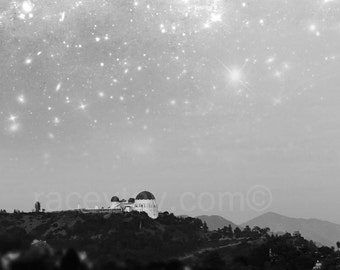 Black and White California Print, Griffith Observatory, Los Angeles, Surreal, Fantasy, Starry Night Sky