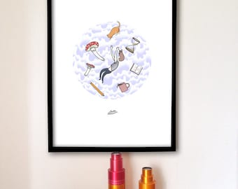 Graphic Art Poster, Alice in Wonderland Inspired Artwork Print