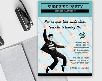 Milestone Birthday Invitation - Elvis Presley - Surprise Party -  Retro Design - DEPOSIT