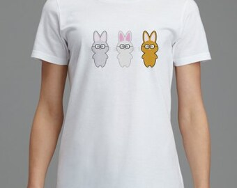 Women's So Smart Rabbits with Glasses Short Sleeve Tee