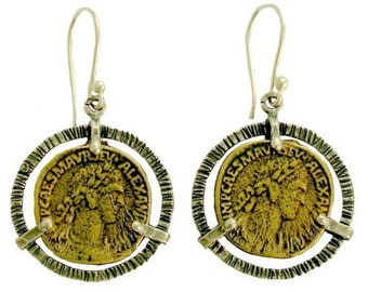Coin silver earrings, brass Coins,  sterling silver dangle earrings, grooved silver earrings, statement jewel - Till the end of time E7844-1