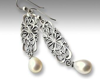 Gypsy earrings, hippie earrings, Unique silver earrings, white pearl earrings, boho earrings, filigree earrings - Between the Lines - E8015