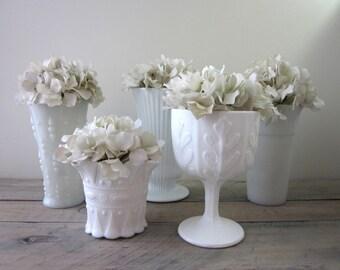 Milk Glass Vases Instant Collection Five Piece Set