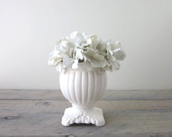 Vintage White Footed Vase