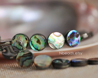 Rainbow Abalone Coin Beads 10mm, Paua Shell Beads  (V1234)/ Full strand