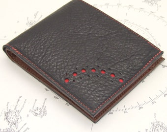 Black leather zip wallet with three card slots, notes pocket and grey paisley lining