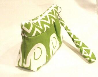 Lime Zippered Elephant Bag with Pleats