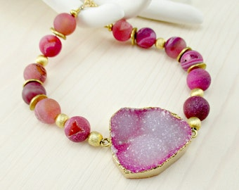 Pink Druzy Bracelet, Gold Electroplated Druzy Drusy, Druzy Agate, Beaded Fuchsia Gemstone, Gold Vermeil, Lotus Charm Bracelet