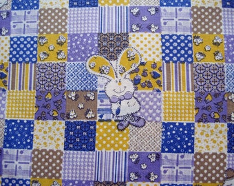 Vintage Cotton Faux Patchwork Cheater Quilt Fabric Yardage Bunnies Chicks Purple Blue Yellow Brown – One Yard